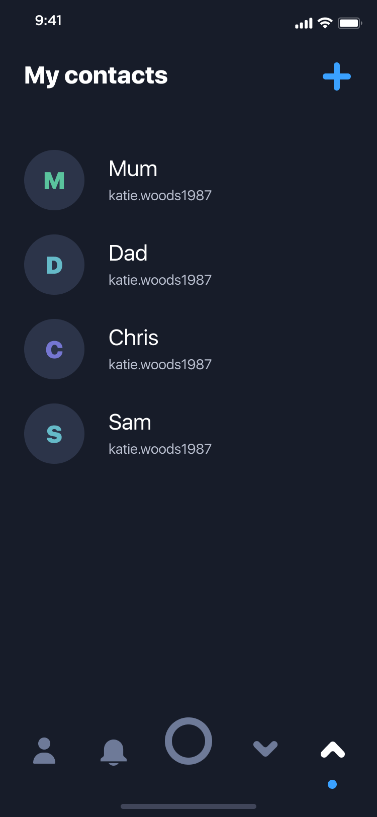 App screen showing my OK contact list